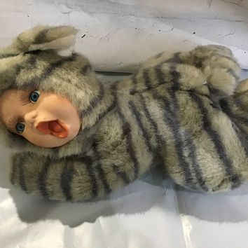 Geppedo Cuddle Kids  Porcelain Face Cat Baby Plush Body