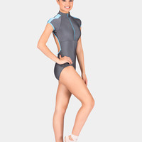 Free Shipping - Mock Neck Short Sleeve Zip Leotard by NATALIE