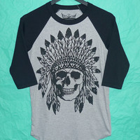 Crew neck baseball Shirt Indian skull raglan t shirt S,M,L,XL gray black tee /baseball tee/ men tee/ teen fashion appare  Rock Native