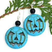 Jack O Lantern Halloween Earrings, Turquoise Magnesite Onyx Jewelry