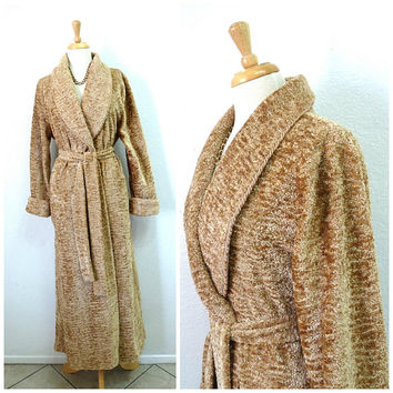 Vintage Diamond Tea Velvet Velour Robe loungewear Beige  Chenille Wrap Hostess Gown