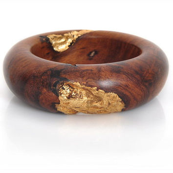 Wood Bracelet – Indian Rosewood and Gold Leaf  - For You