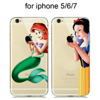 Colorful Cartoon Silicone Case for capinhas iphone 7 Plus 6 6S 5 SE 5S Phone Case Snow White Cinderella Mermaid Clear Cover Para