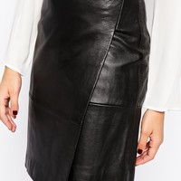 Mango Real Leather Wrap Skirt