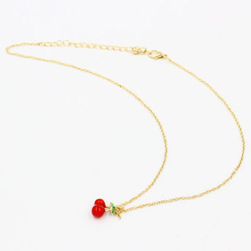 Gold Cherry Chain Necklace