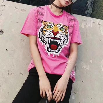 """Gucci"" Women Fashion Casual Eyes Print Tiger Head Embroidery Short Sleeve T-shirt Top Tee"