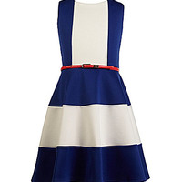 Blush by US Angels 7-16 Belted Colorblocked Scuba Dress | Dillards.com