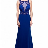 Kari Chang KC31 Royal Blue Sheer Illusion Prom Dress