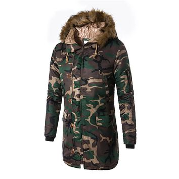 2017 Newest Down Jacket Long Cotton Army Coat Winter Warm Clothes Military Men Camouflage Hooded Casual Jacket Parkas Overcoat