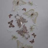 3D paper fairy butterfly and dragonfly wall art set in gorgeous natural paper, warm copper and cream pearl shine --- Inspired by fall/autumn