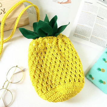 Pineapple bag Cross-body Bag Pineapple Crochet Beach bag Yellow Summer bag Hippie Cross body Purse Pineapple Beach Summer Purse Hobo.