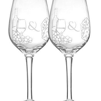 Mr Cs Cucina Wine amp Cheese Themed Etched 16 Ounce Wine Glasses Set of Two Beautifully Etched Glasses Perfect For Weddings Housewarming or For The Wine and Cheese Lovers On Your List