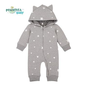 Baby Rompers 2017 Spring Autumn Style Overalls Star Printing Cotton Newborn Baby Boys Girls Clothes Long Sleeve Hooded Outfits