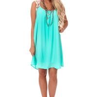 Mint Crossed Lace Straps Dress