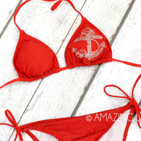 Cozumel Red Hottie Anchor Bikini Set