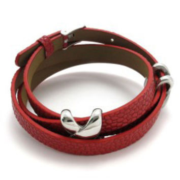 Genuine Leather Double Wrap Bracelet with X Stainless Steel Charms -Color White