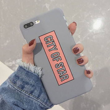 Phone Case For iphone 7 Case Fashion Letter CITY OF STAR Cover Funny Cartoon Hard PC Capa Cases For iphone7 6 6S Plus 5 5S -0405
