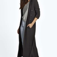 Adriana Maxi Belted Textured Trench