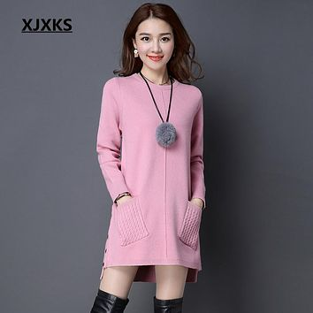 XJXKS vestidos women autumn and winter dress fit and flare solid was thin wild base office sweater dresses