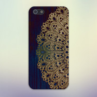 Gold Lace Doily x Dark Blue Wood Design Case for iPhone 6 6 Plus iPhone 5 5s 5c iPhone 4 4s Samsung Galaxy s5 s4 & s3 and Note 4 3 2