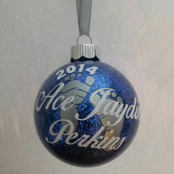 Personalized Baby's First Christmas ornament personalized with Vinyl