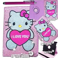 "Jersey Bling® Crystal PINK Kitty Google Nexus 7"" 2nd GEN Tablet Faux Leather Case Cover Folio with FREE Jersey Bling® Stylus"