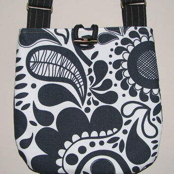 Quilted Shoulder Bag , Cotton Canvas Cross Body Purse , Charcoal/Off White Modern Abstract Floral