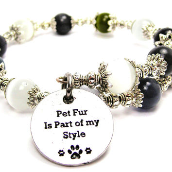 Pet Fur Is Part Of My Style Cats Eyes Glass Beaded Wrap Bracelet