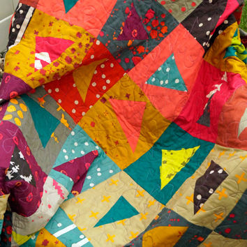 Lap Quilt or Throw Blanket in Modern Batik Colorful Patchwork - Quiltsy Handmade
