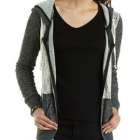 Crochet & French Terry Zip-Up Hoodie by Charlotte Russe
