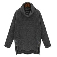 Turtle Neck Side-Zip Asymmetrical Sweater