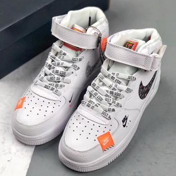 """Trendsetter Nike Air Force 1 MID Retro """"Just Do It"""" Women Men Fashion Casual High-Top Skateboard Shoes"""