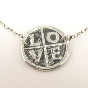Love Wax Seal Pendant on Sterling Silver Chain, Valentines Day, Anniversary or Wedding Gift