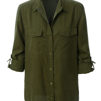 LE3NO Womens Lightweight Loose Long Sleeve Tencel Army Shirt (CLEARANCE)