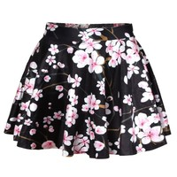 Erlking Women's Basic Versatile Stretchy Flared Skater Skirt Color Floral Black Size One Size