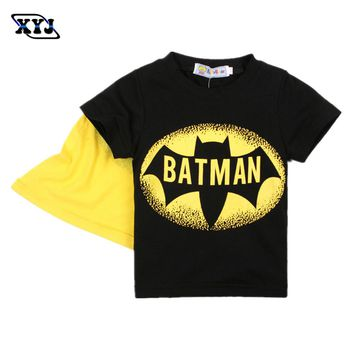 Costume Batman 2016 Summer T-Shirt Batman Tees Kids Boys Super Hero T Shirt Children Cotton Tops With Cape Black Printed