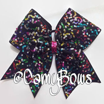 SALE Cheer Bow Rainbow Sequin Sparkle