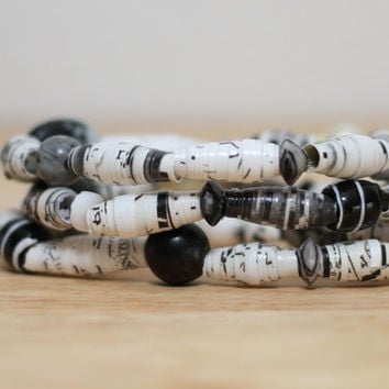 3 Recycled Paper Bead Bracelets, Handmade with Book Pages, Unique, Bold and Colorful Birthday, Teacher, Graduation Gift Recycled Jewelry