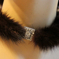 Vintage 50s Genuine Mink Fur/Rhinestone Art Deco Clasp Choker Necklace