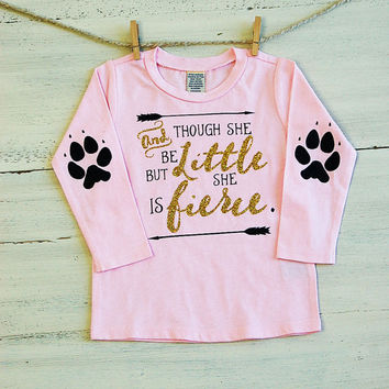 "Kids ""And Though She Be But Little She Is Fierce"" Long Sleeve Tee Shirt Children's Fierce Paw Print Glitter Elbow Patch Shirt Animal Patch"