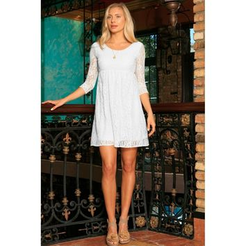 White Stretchy Lace Empire Waist Three-Quarter Sleeve Dress - Women