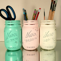 Back to School - Home, Dorm or Office Decor, Wedding - Mason Jars - Caribbean  - Pencil Holders