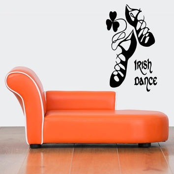 Wall Decor Vinyl Sticker Room Decal Art Irish Dance Shoes Lucky Clover Sign 684