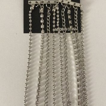 "Silver Shoulder Duster Chain 6"" Earrings"