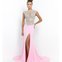 Carnation Pink Beaded Illusion Open Back Gown