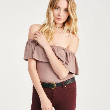 Off-The-Shoulder Ruffle Bodysuit | Wet Seal