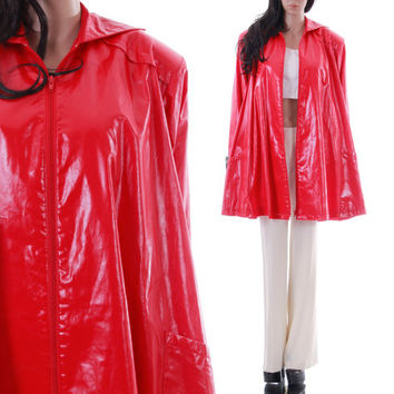 90s PVC Tent Raincoat Saks Fifth Avenue Cherry Red Black and White Plaid Avant Garde Slicker Mod Vintage Clothing Womens One Size Fits Most