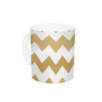 "KESS Original ""Candy Cane Gold"" Chevron Ceramic Coffee Mug"