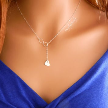 Lariat Heart Necklace / Silver Infinity Necklace / Heart Charm Necklace / Bridesmaid Gift / Wedding Jewelry / Y Necklace / Drop Necklace