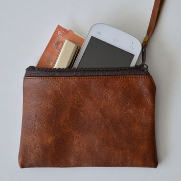 Small leather coin purse, Leather zipper pouch, Small wallet